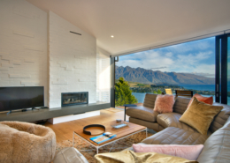 Lofty Heights - Queenstown Hill luxury rental accommodation lounge with fire